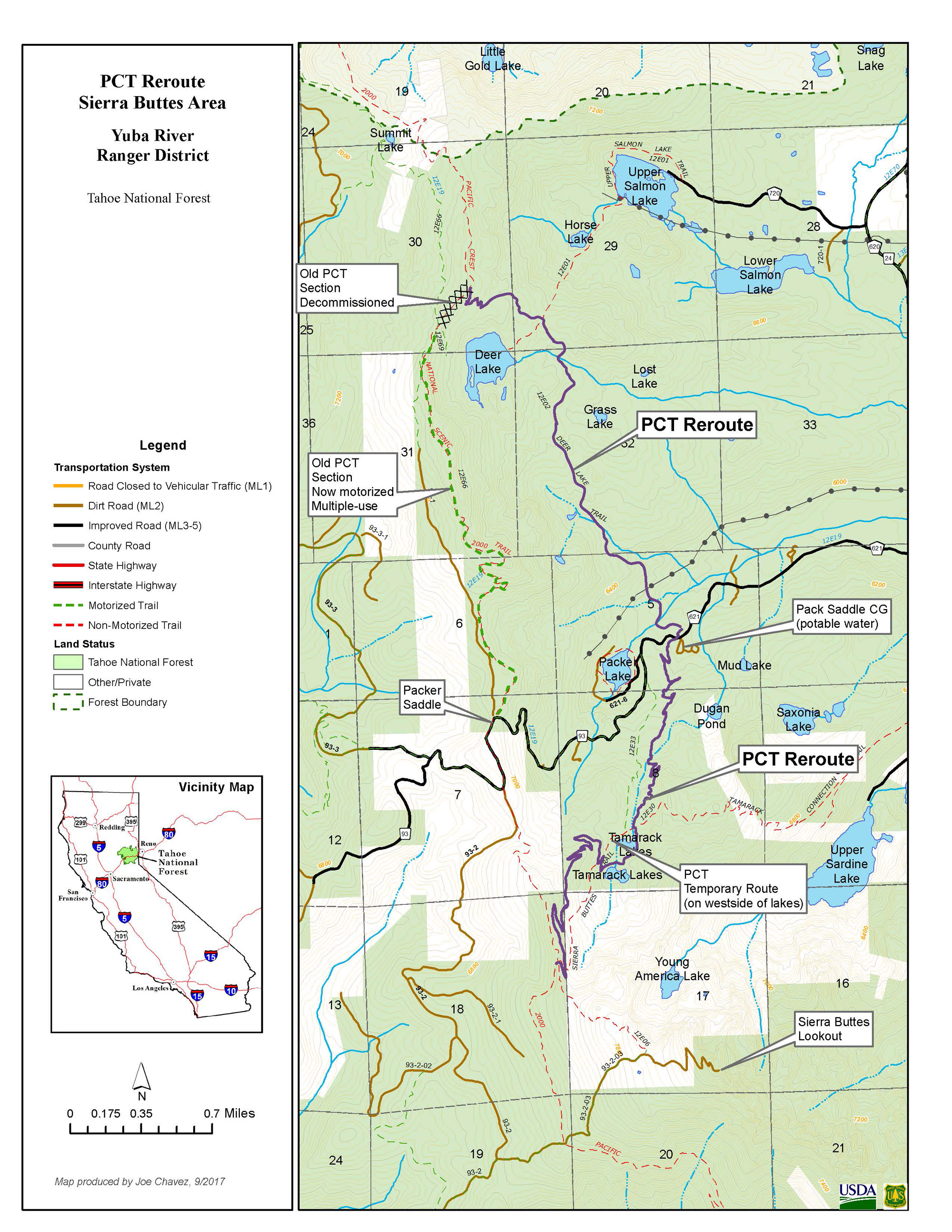 map of the pacific crest trail in the sierra buttes . a new section of the pacific crest trail is open in the sierra