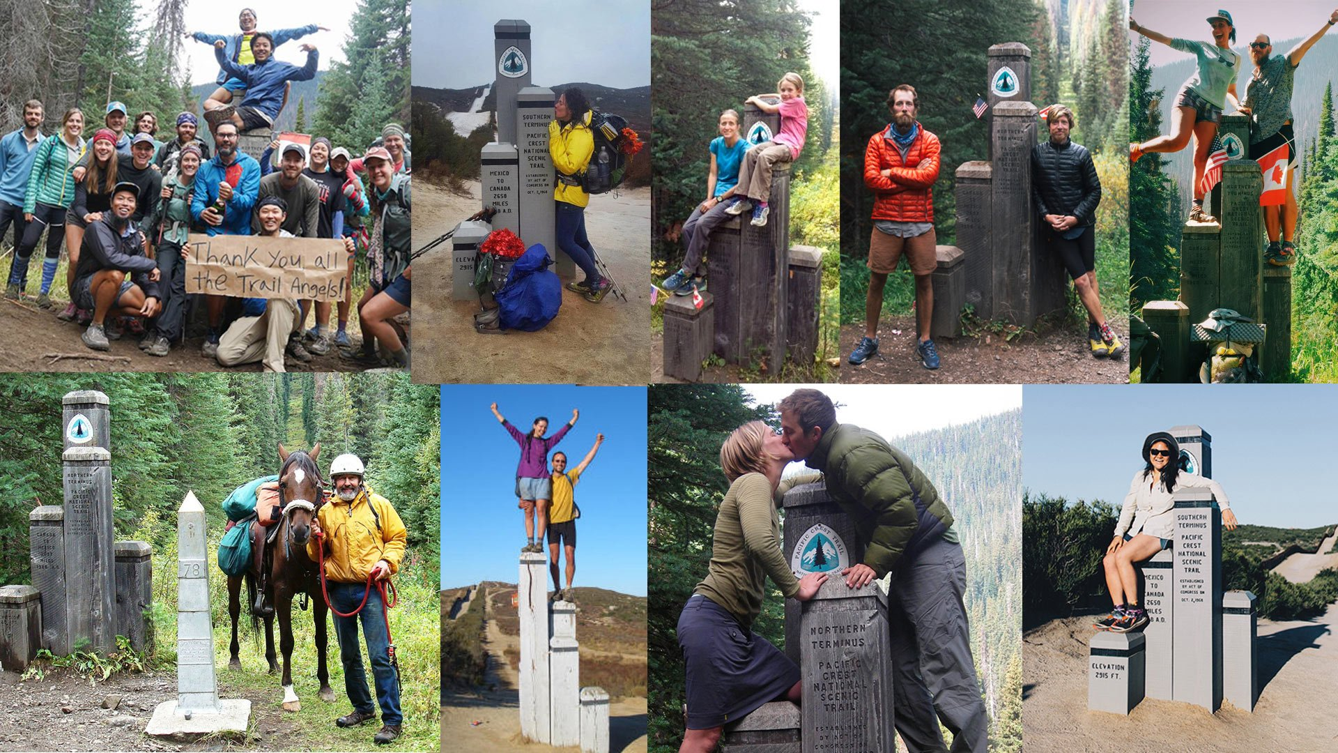 PCT alumni thruhikers standing at the northern terminus on the Canadian border