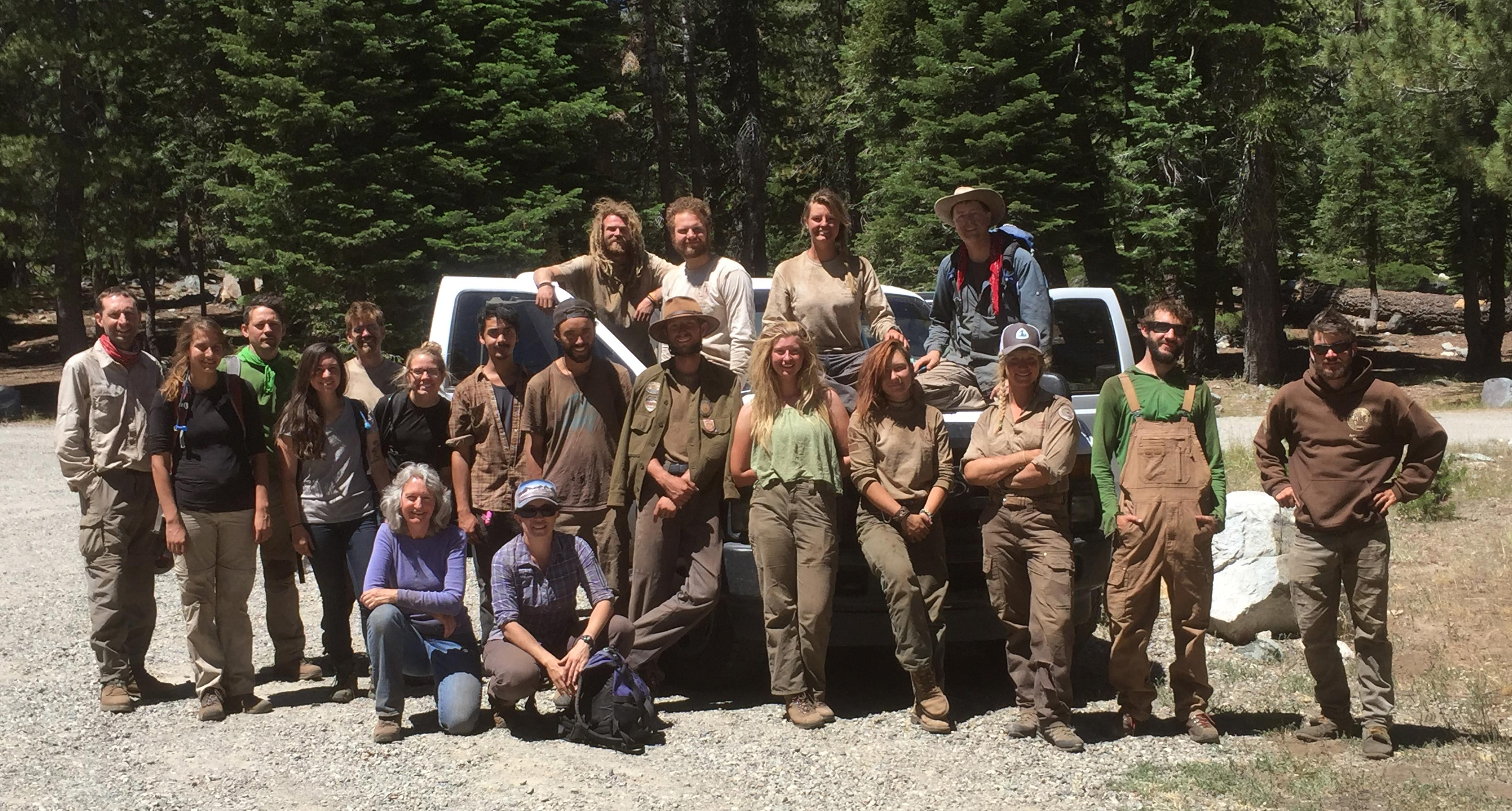 """The ACE crew, dirty and smiling, during the July-August 2016 season in the Sierra Buttes. Photo courtesy of Clare """"Bucket"""" Major."""