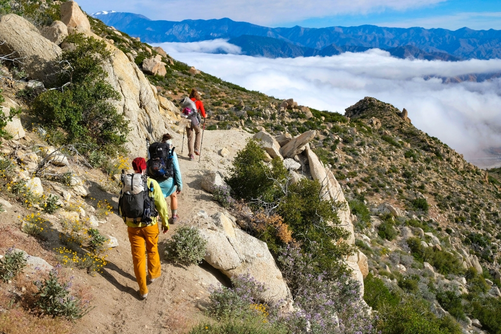 PCT hikers above the clouds in Southern California