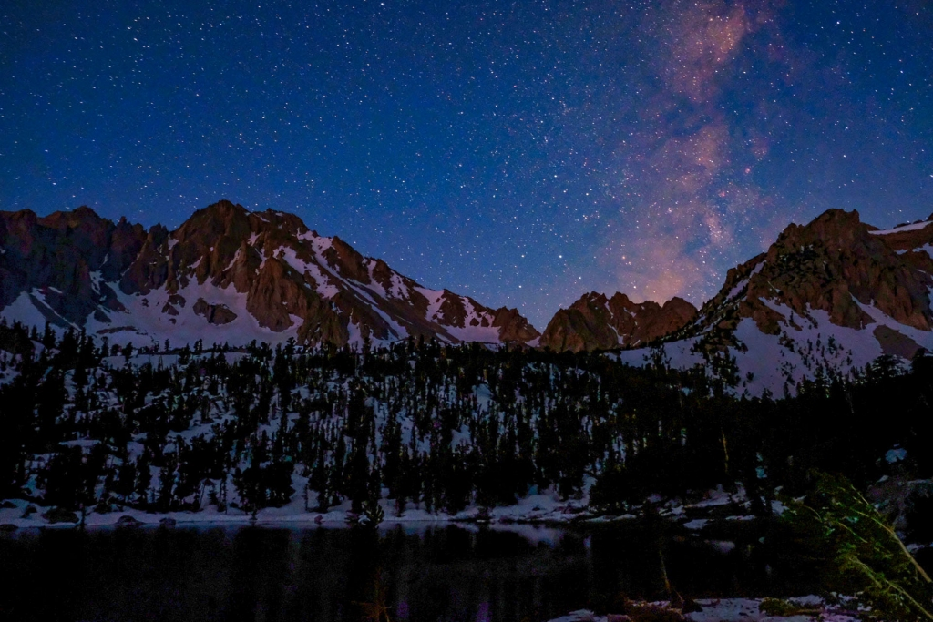 A starry night over the Sierra Nevada Mountains
