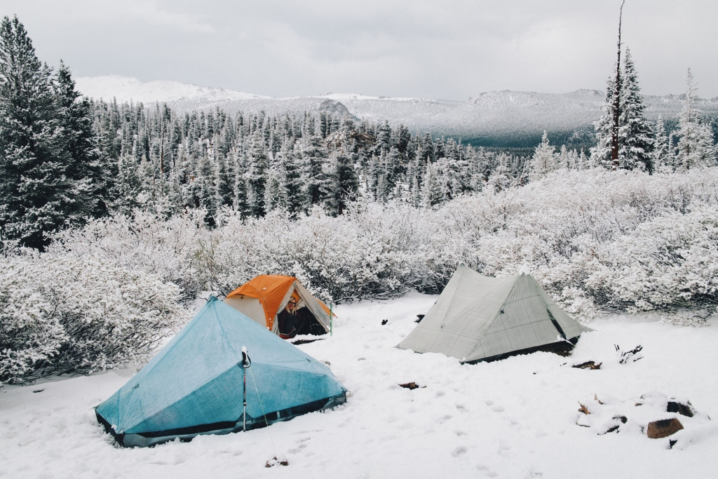 Tents on a snowy morning near Crabtree Meadows