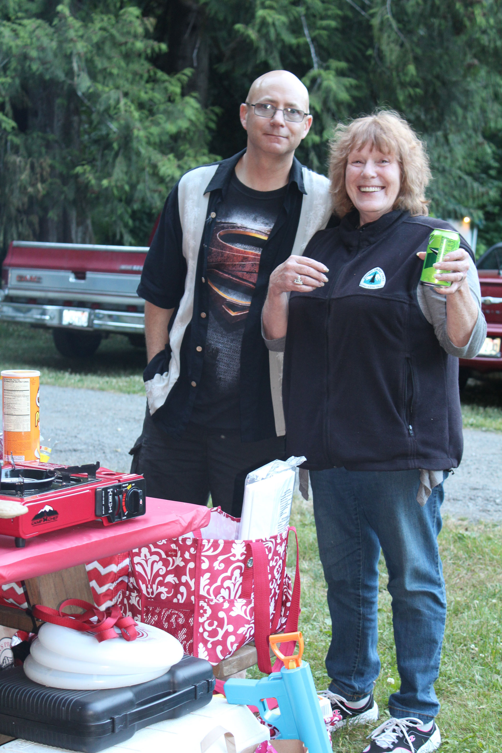 She loved her PCT vest and wore it almost everyday. Here she is with her mountaineering son-in-law Bradley Altman.