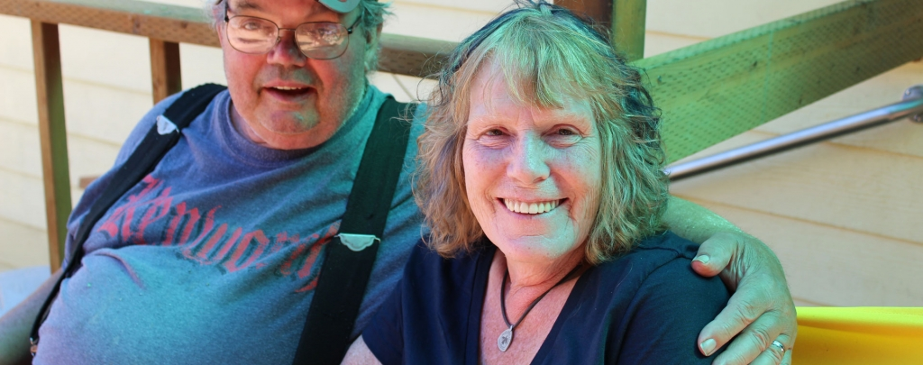Jerry and Andrea Dinsmore on their deck in September 2017. Photo by Diane Altman.