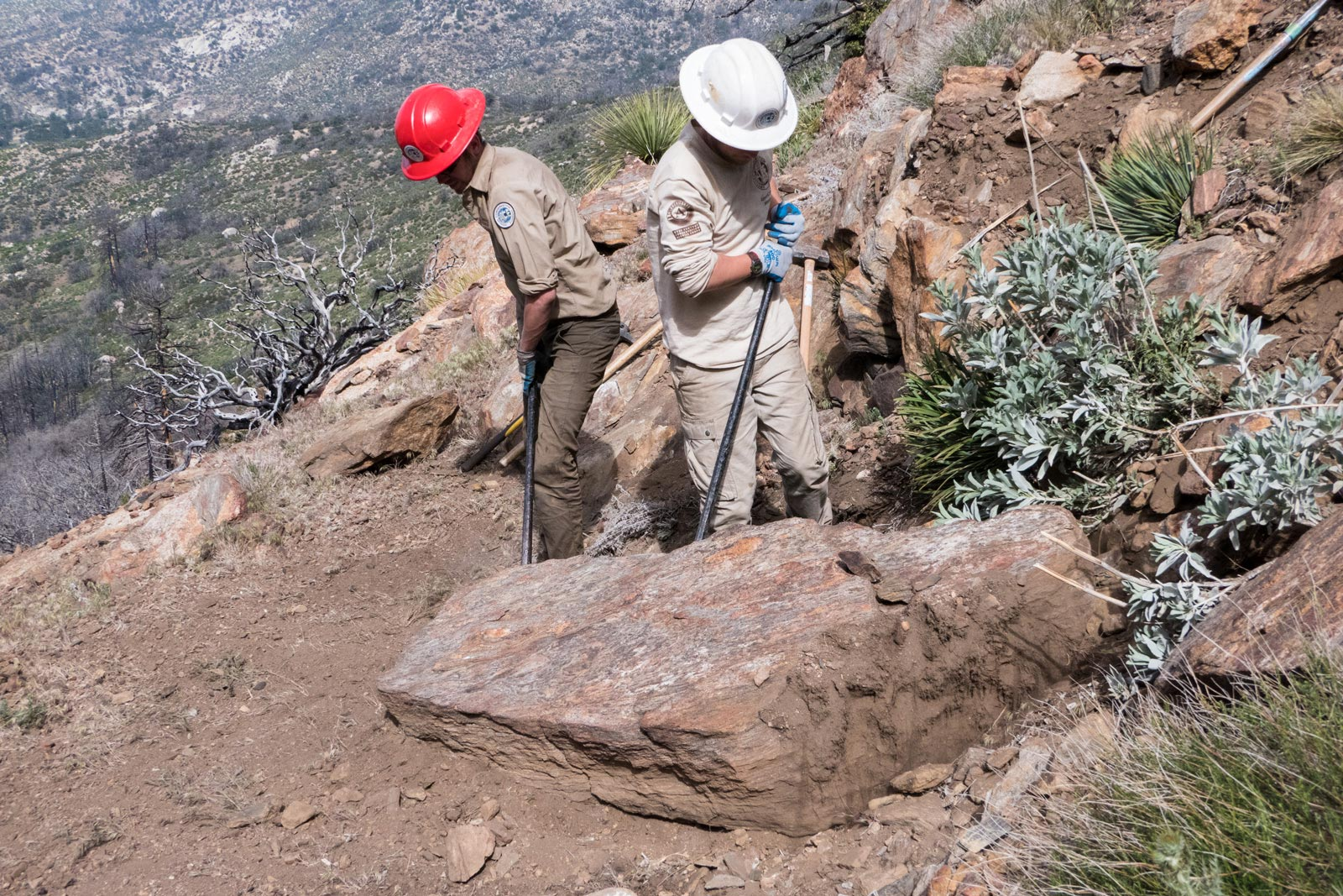 ACE crew members move a big boulder in the Mountain Fire burn area.
