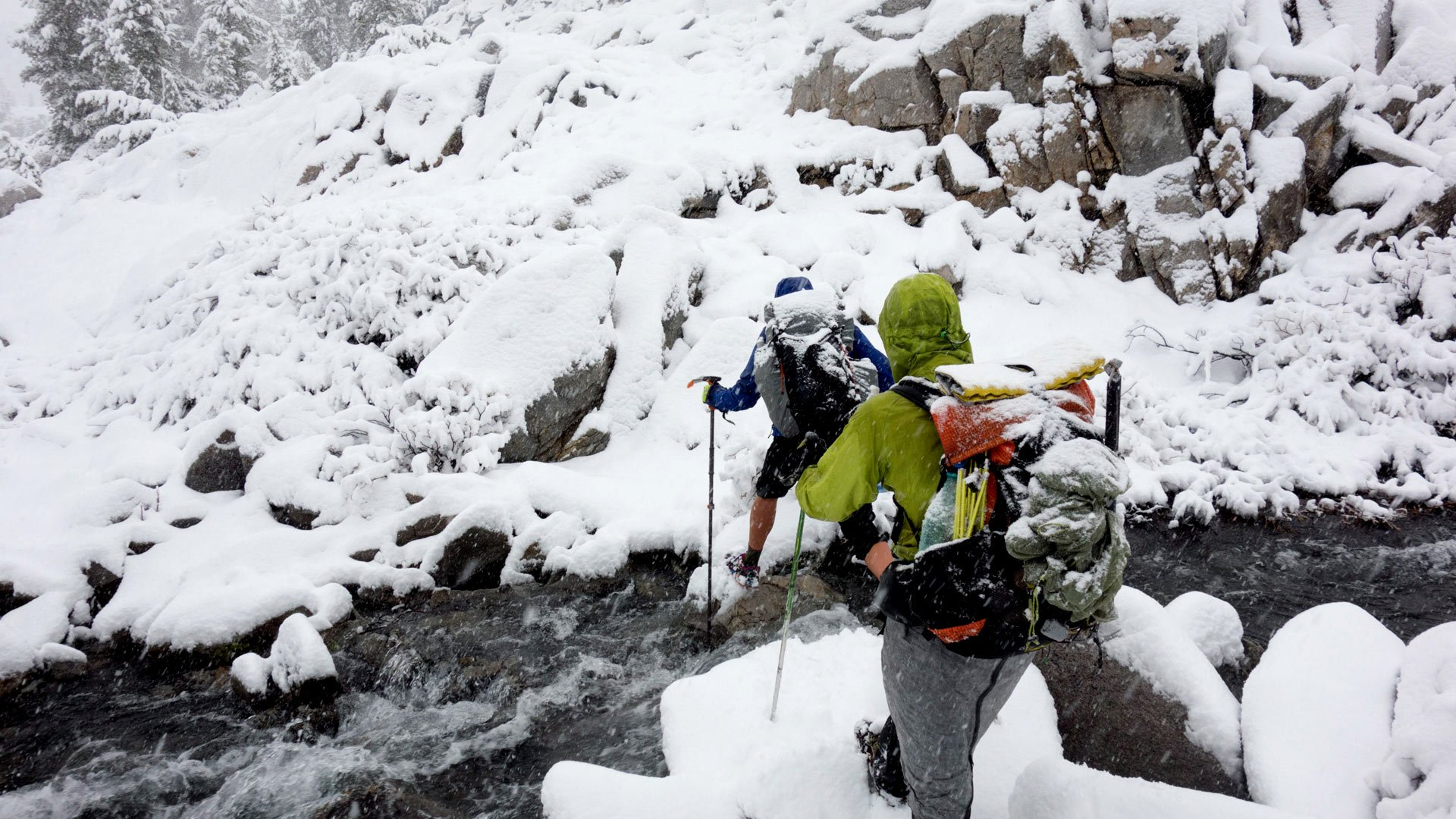 Crossing a creek in a snow storm