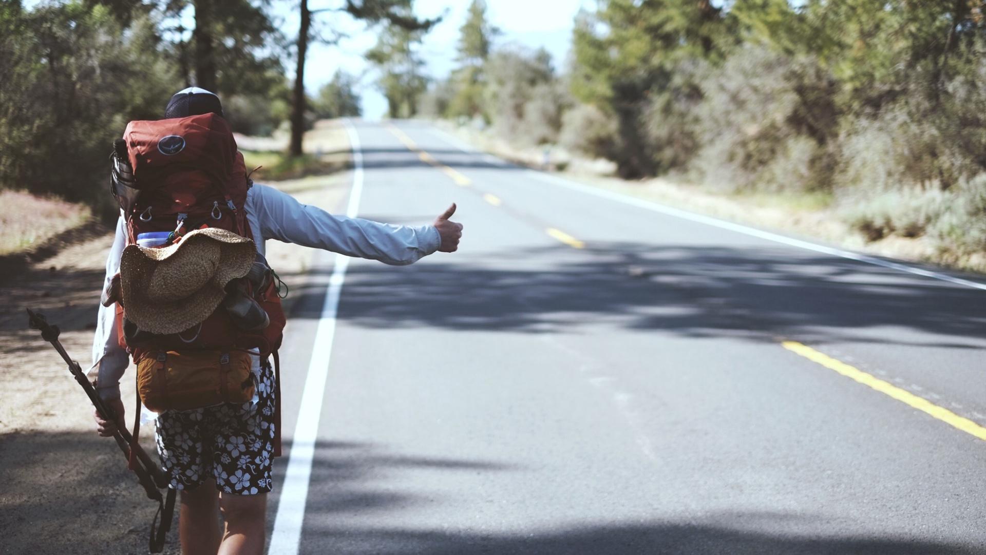 PCT hiker hitchhiking