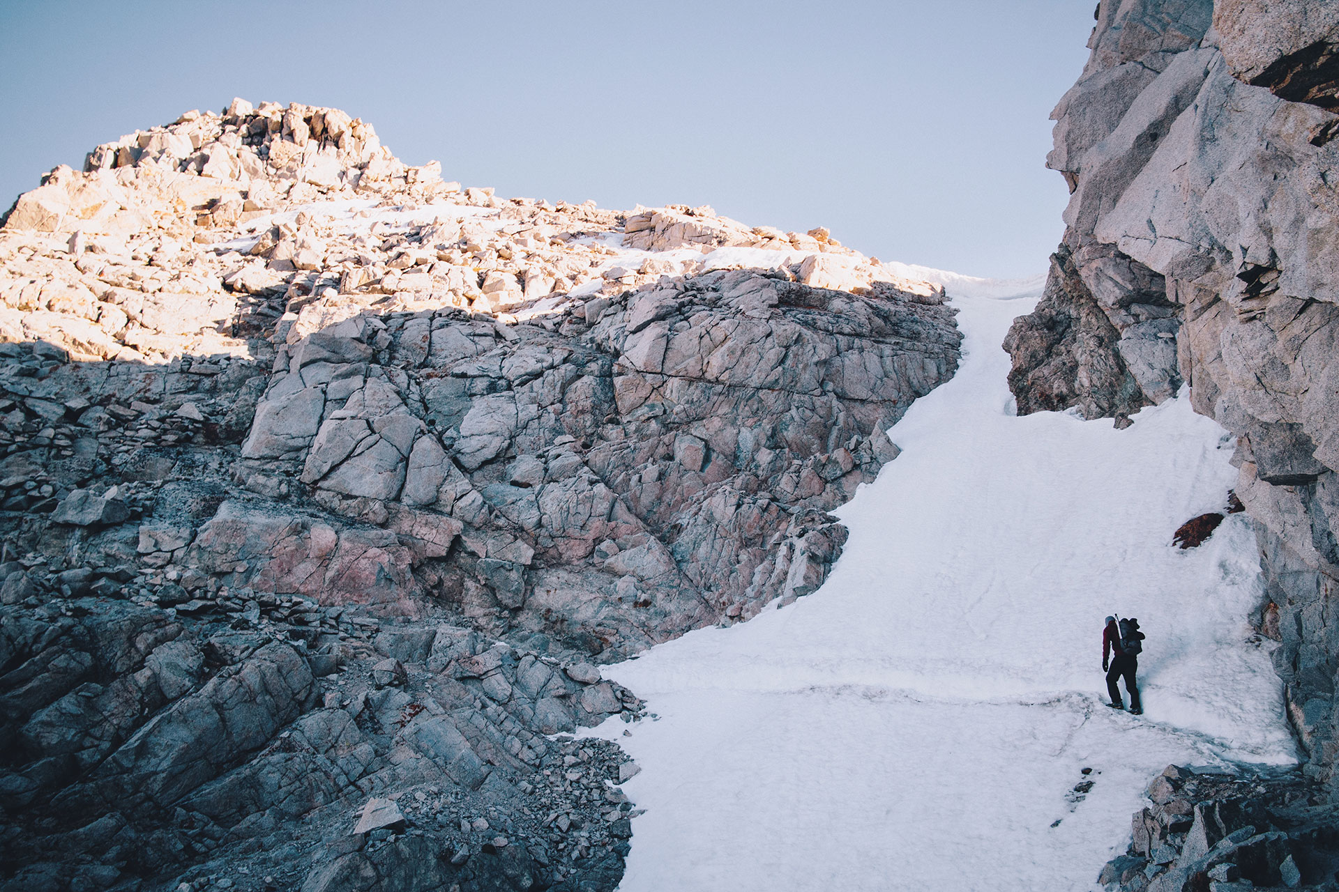 PCT and JMT snow chute on Forester Pass