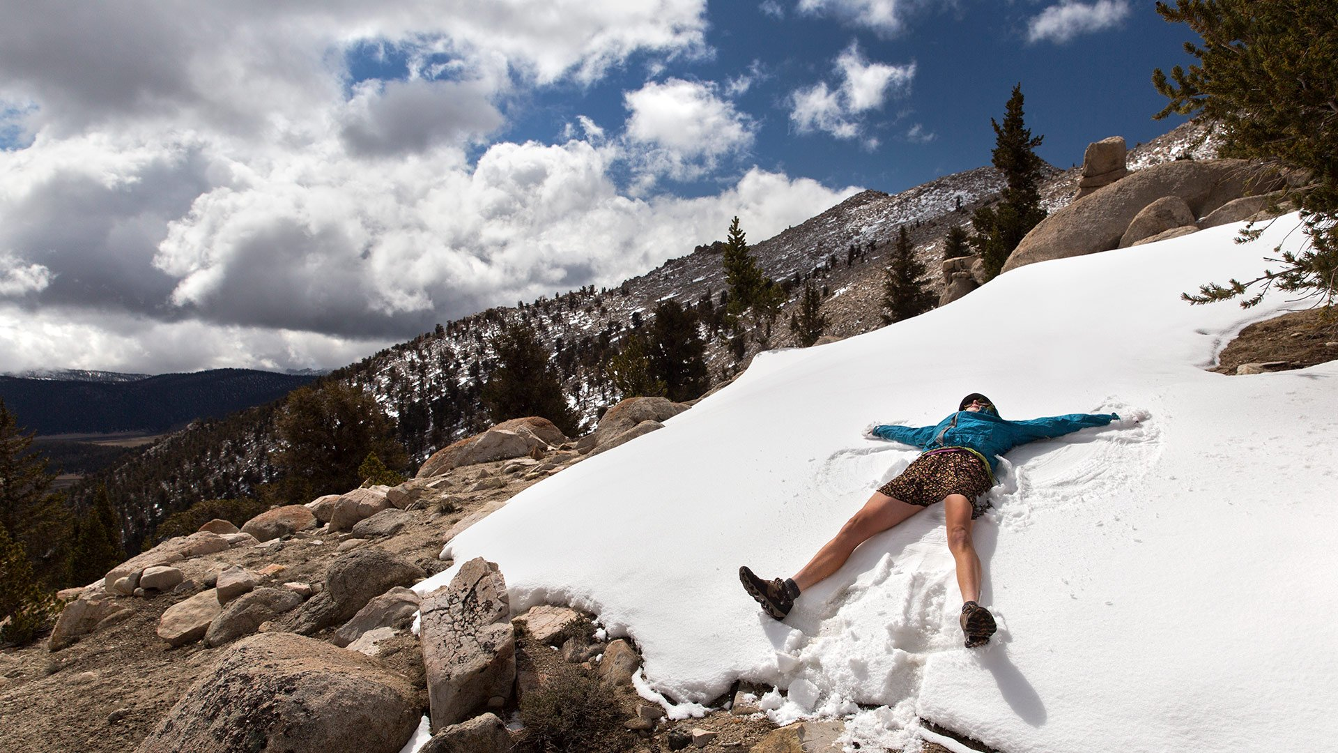 'Dirt Bowl' makes a snow angel in the Sierra on a magical day. Photo by Bri 'Twink' Leahy