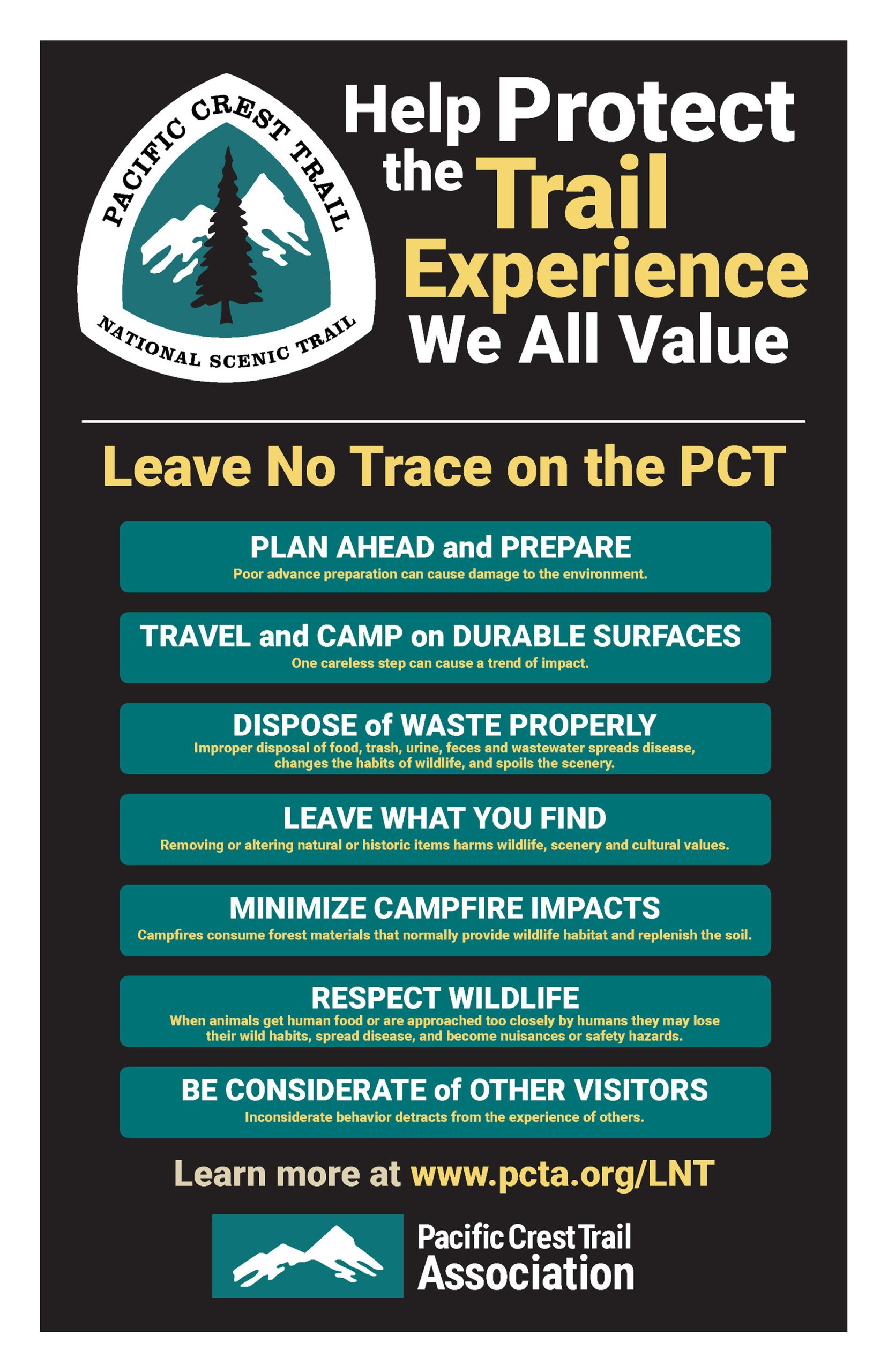 Pacific Crest Trail Leave No Trace poster